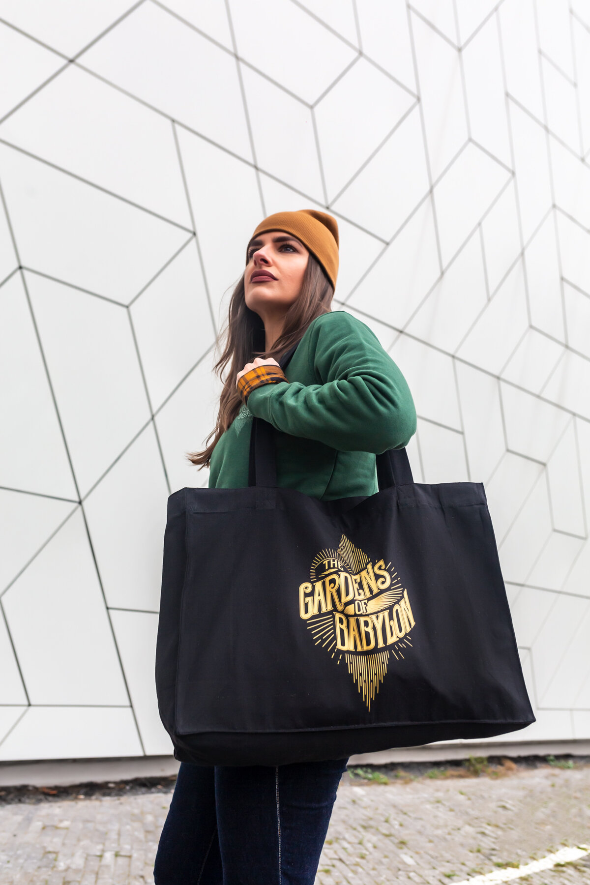 the gardens of babylon bag, tote bag, extra large tote bag, logo bag, TGOB merchandise, linen bag