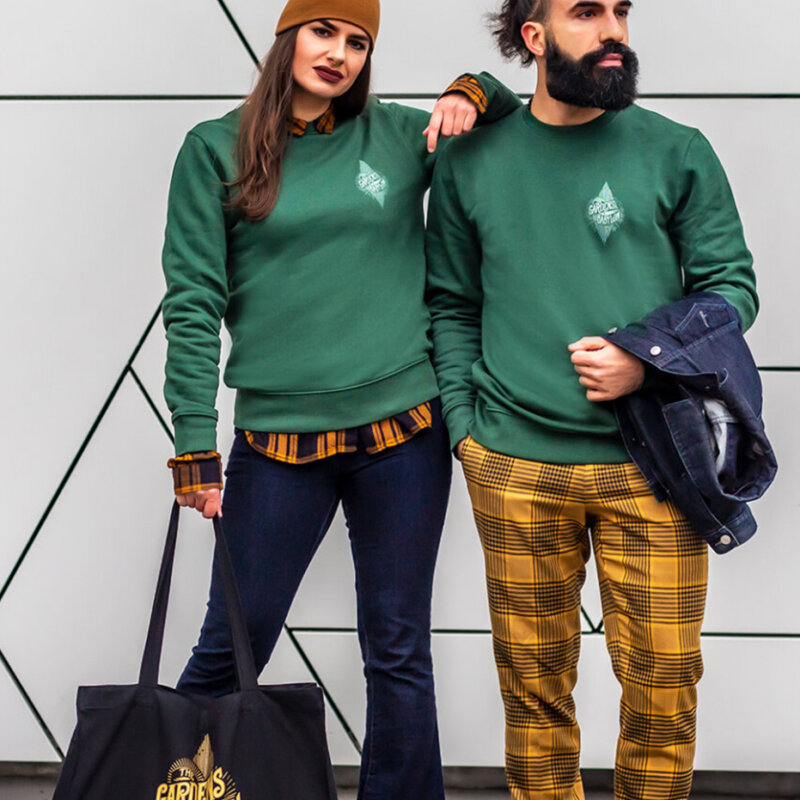 green sweater, TGOB merchandise, casual wear, unisex clothing, the gardens of babylon sweater in green