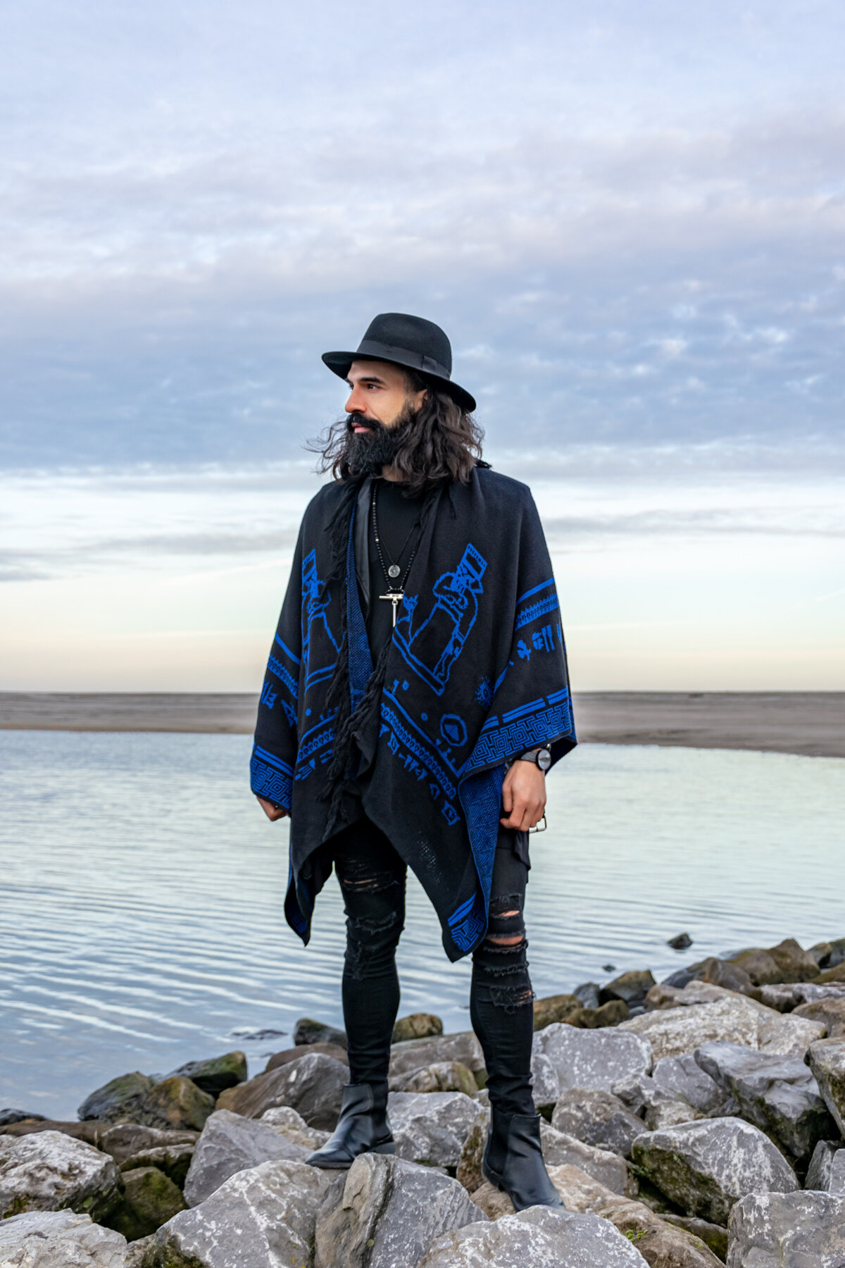 black blue poncho, the gardens of babylon merch, bohemian style outfit, festival clothing, outerwear