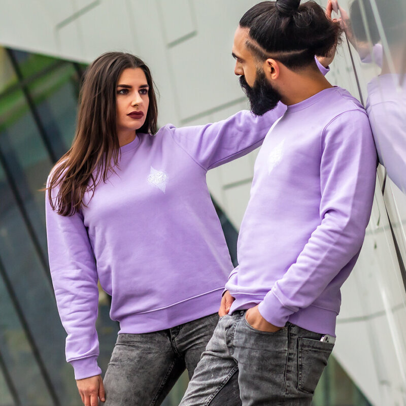 lilac sweater, lavender sweater, the gardens of babylon sweater, TGOB logo sweater, unisex clothing, unisex sweater, casual clothing, TGOB merchandise