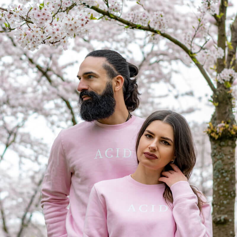 Acid sweater in pink, pink acid sweater, TGOB collection, unisex sweater
