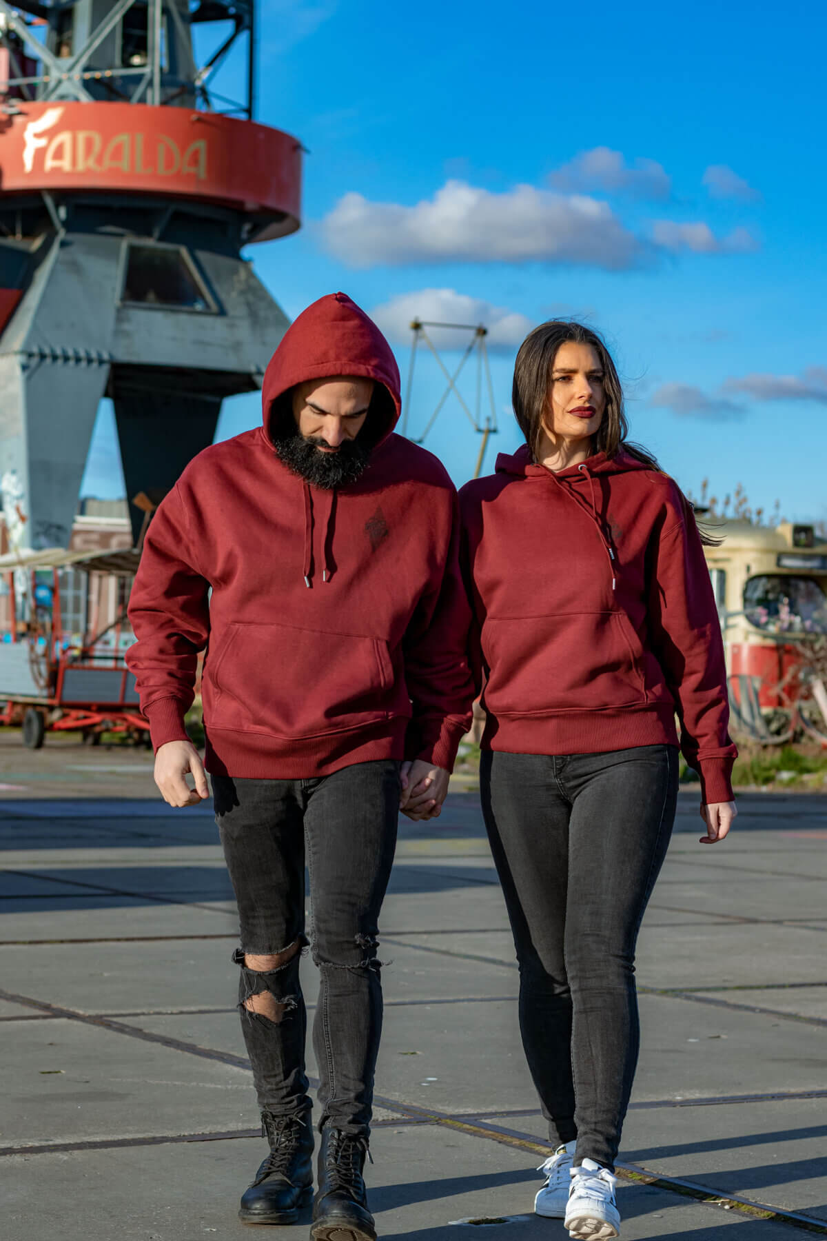 Hoodie in burgundy, hooded sweater, TGOB collection