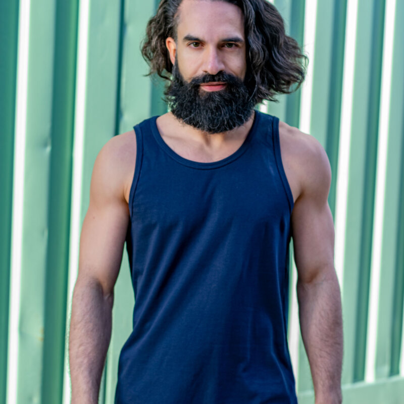 men's tank top navy, navy singlet, TGOB collection, yoga top